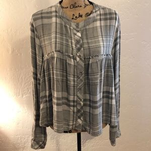 Bella Dahl empire waist flannel blouse, Medium